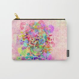 Girly Sugar Skull Pink Glitter Fine Art Paint Carry-All Pouch