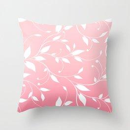 FLOWERY VINES | pink white Throw Pillow