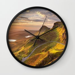 IV - Sunrise at Quiraing, Isle of Skye, Scotland Wall Clock