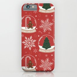 Christmas Snow Globe Pattern : Red iPhone Case