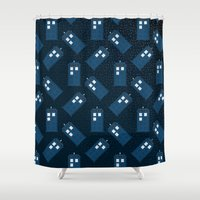 tardis Shower Curtains featuring TARDIS by Sam Del Valle