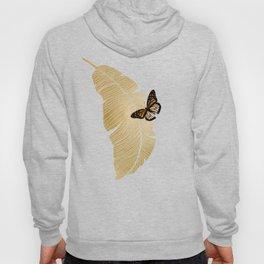 Butterfly & Palm Leaf, Gold Wall Art Hoody