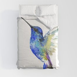 Hummingbird, Turquoise BLue Flying Bird decor Comforters