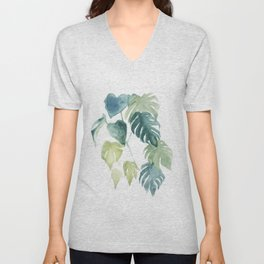 Minimalist watercolor tropical monstera leaves in blushpink and emerald Unisex V-Neck
