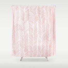 Living Coral Herringbone Shower Curtain