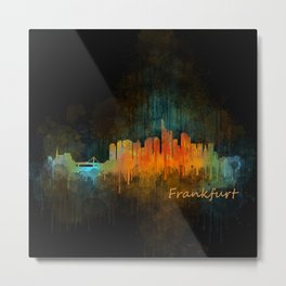 Frankfurt am Main, City Cityscape Skyline watercolor art v4 Metal Print