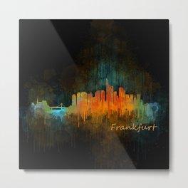 Frankfurt am Main, City Cityscape Skyline watercolor art v4 Metal Print