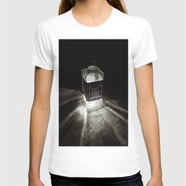 Bottle of Jack, Tennessee Whiskey incandescent rays of sunburst black and white  photography T-shirt