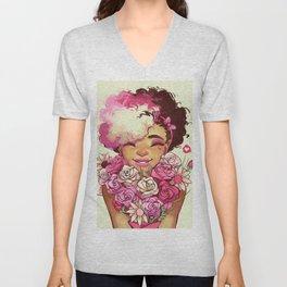 Fuchsia girl Unisex V-Neck