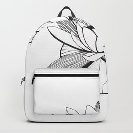 Black and white water lily Backpack