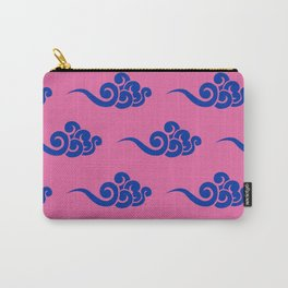 Chinese Wind Symbols in Blue + Pink Porcelain Carry-All Pouch