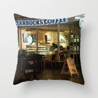 starbucks Throw Pillows featuring Starbucks by VAWART