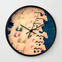 pigs Wall Clocks featuring Carnie Pigs by maybesparrowphotography