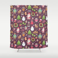 merry christmas Shower Curtains featuring Merry Christmas by Anna Alekseeva kostolom3000