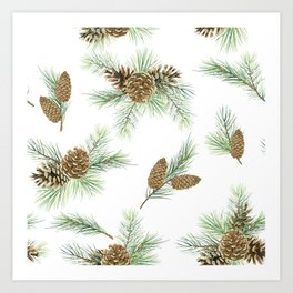 pine branches and cones pattern Art Print