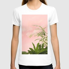 Minimal Botanical, Blush Plants Tropical Nature, Beachy Watercolor Painting T-shirt