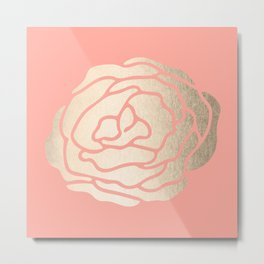 Rose White Gold Sands on Salmon Pink Metal Print