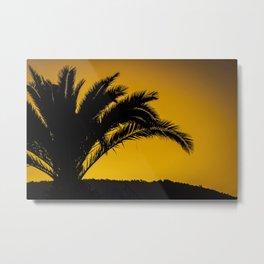Palmtree in backlight in turkish sunset Metal Print