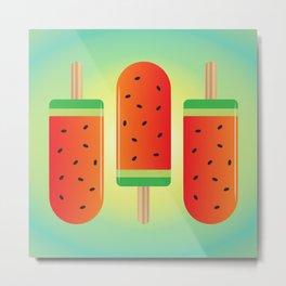 Watermelon Ice Lollies Metal Print