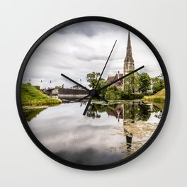 Church in Copenhagen reflections on lake at sunset Wall Clock