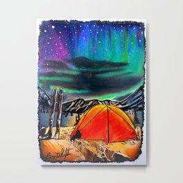 'Front Row Seat' Northern Lights - Ski Camping - Original Skiing Drawing Metal Print