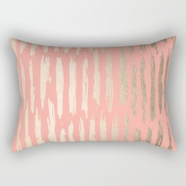 Vertical Dash Tahitian Gold on Coral Pink Stripes Rectangular Pillow