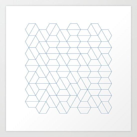 #329 Hexagon fields – Geometry Daily Art Print