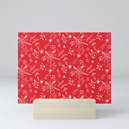 Winter Floral Red Mini Art Print