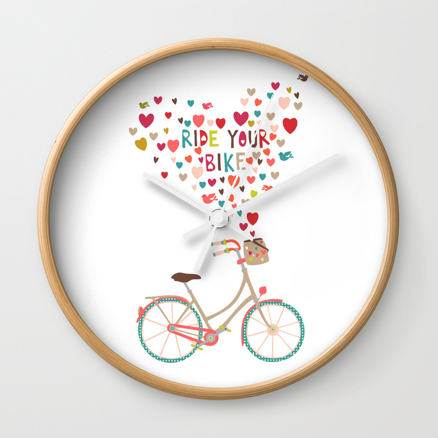 Ride Your Bike Bicycle Art Print Home Decor Living Room In Pastel Colors Hearts Modern Wall Graphic Wall Clock By Lubo Society6