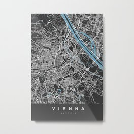 Vienna Map Austria | Black & Blue | More Colors, Review My Collections Metal Print