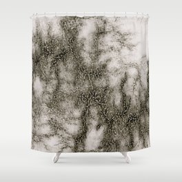 Gray Marble Pattern Black And Silver Vined Shower Curtain