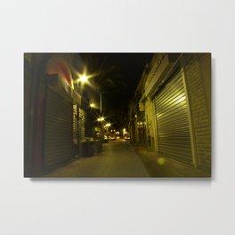 street view at night dark alley  Metal Print