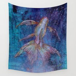Indigo Goldfish Wall Tapestry
