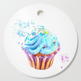 Cupcake watercolor illustration Cutting Board