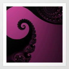 Pink and Black Fractal Art Print