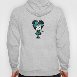Teal Blue Big Eyes Sugar Skull Girl Playing the Guitar Hoody