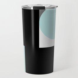 An abstract geometric pattern . Geometric shapes . Black sky blue white pattern . Travel Mug