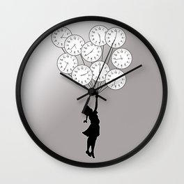 The Girl Flying With Time Wall Clock