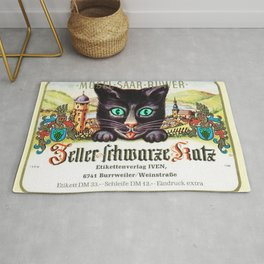 Vintage Zeller Schwarze Katz Black Cat Wine Bottle Label Print Rug