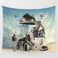 house Wall Tapestries featuring house by Кaterina Кalinich