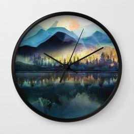 Mountain Lake Under Sunrise Wall Clock