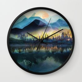 Mountain Lake Under Sunrise Wall Clock