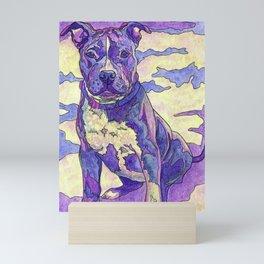 Rainbow Blue Nose Pitbull Mini Art Print
