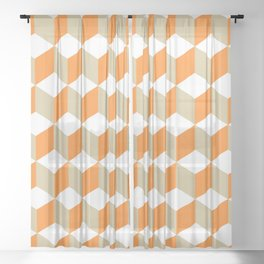 Diamond Repeating Pattern In Russet Orange and Grey Sheer Curtain
