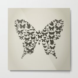 Silhouette the butterfly Metal Print