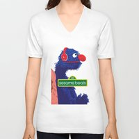 sesame street V-neck T-shirts featuring Sesame Beats by BeGraphics