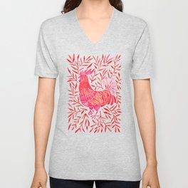 Le Coq – Watercolor Rooster with Red Leaves Unisex V-Neck