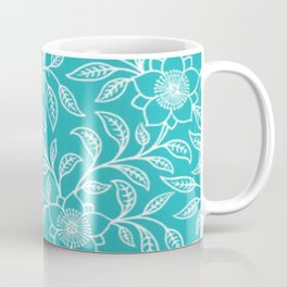 Aquamarine Lace Floral Coffee Mug