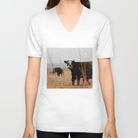 cows V-neck T-shirts featuring Moo Cows by Artwork by Brie
