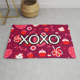 Valentine XOXO Red Hearts and Bows Rug